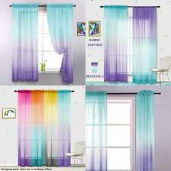 Lilac amp; TURQUOISE Curtains For Bedroom Girls Room Decor 2 Panels Reversible Ombr $31.97