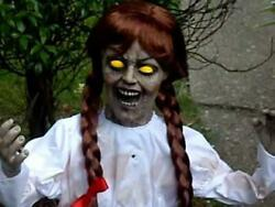 SEE VIDEO Life Size Animated Annabelle Halloween Prop Doll HAUNTED HOUSE SPIRIT $44.99