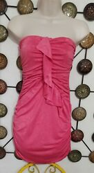 Valentine Polyester blend Renched Ruffle Strapless Dress Summer teen Junior Sz S $14.00