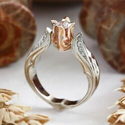 Women Birthstone Ring Cross Flower Rings Rose Gold Rhinestone Jewelry Gift USA $5.99