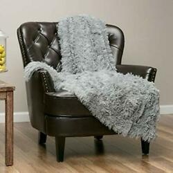 Super Soft Shaggy Long Fur Throw Blanket  Snuggly 60x70 Inches Gray $49.64