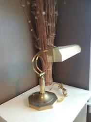 Vintage Brass Bankers Desk Lamp ~ Adjustable Arm ~ Dynasty Classics Corp