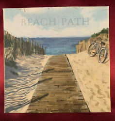 "Oil Canvas Hanging Wall ""BEACH PATH 5.25"" X 5.25 Artist Signed $9.95"