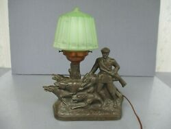 VINTAGE SPELTER? THE HUNTER TABLE OR PARLOR LAMP