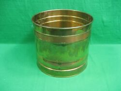 Vintage Hammered Brass Planter with Copper Band 9.25 Inches Diameter $14.59