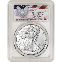 2020-(W) American Silver Eagle - PCGS MS70 - First Strike Red Flag Label $49.25