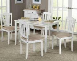 5 Pc White Wood Dining Room Set Kitchen Chair Table Sets Tables Chairs Furniture $254.95