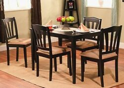 5 Pc Black Wood Dining Room Set Kitchen Chair Table Sets Tables Chairs Furniture $299.95
