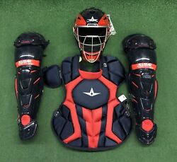 All Star System 7 Axis Youth 10-12 Catchers Gear Set - Navy Blue Red $349.95