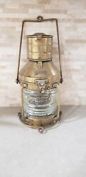 Antique authentic quot;Anchorquot; Brass and copper Ship Lantern 14 in H 7 in diameter $399.00