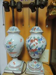 Pair Table Lamps 21quot; French style Porcelain 19th century double socket Antique $374.99