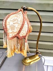 ANTIQUE TABLE LAMP SOLID BRASS  2 ADJUSTABLE KEYS +VICTORIAN FRINGED SHADE. $325.00