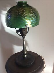 TIFFANY STUDIOS DESK LAMP WITH DAMAGED DAMASCENE SHADE
