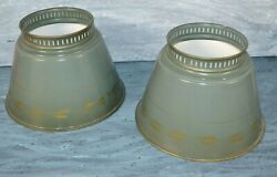 Vintage TOLE Floor Lamp Shades Round Gold Hand Painted 5quot; Opening GREEN $42.99