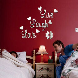 3D Mirror Wall Sticker Decal LOVE Letter Art Vinyl Removable For Home Room Decor $4.98