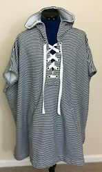 J Crew Womens Hooded Beach Cover up Poncho Size M L Blue White Striped Ribbon $35.00