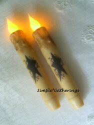 Black Star Berries IVORY TIMER Taper Candles 2 pc Primitive Rustic 6.5quot; Grungy $14.98