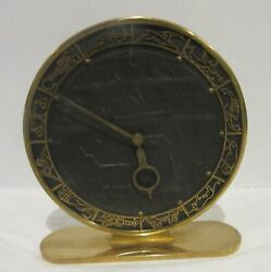Germany Zodiac Brass Desk Clock 6.25 Inches 1930's 1940's BBGM