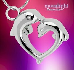 New Dolphins Heart Urn Cremation Pendant Ash Silver Memorial Necklace