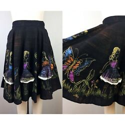 1950s Black Hand Painted Mexican Circle Skirt Novelty Little Ladies Rockabilly S $225.00