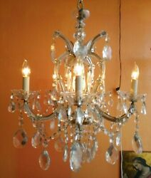 ANTIQUE ITALIAN 5 ARMS 6 LIGHT CRYSTAL CHANDELIER MARIE THERESA VINTAGE LAMP $350.00