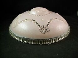 Vintage Heavy Glass Ceiling Lamp Shade 11quot; Mid Century ART DECO Pink $23.99