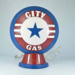 Vintage CITY GAS Americana USA LAMP Stained Glass Glow Unique Design $24.99
