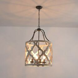 Vintage Distressed White Carved Wood Chandelier 4-Light Lantern Pendant Light UL $259.99