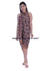 Ethnic Brown Abstract Bathing Cover Up Pareo Women#x27;s Cotton Sarong Summer Beach $19.99