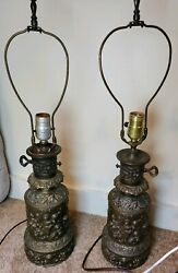 pair of vintage lamps cherub by underwriters laboratory bronze $62.95