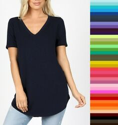 Womens Zenana Relaxed Fit V Neck TShirt Short Sleeve Rayon Size S M L XL USA $12.50