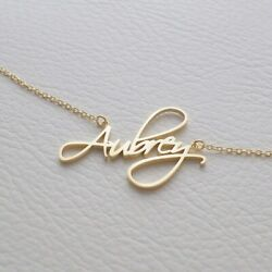 Personalized Sterling Silver Gold Any Name Plate Script Chain Necklace w Crown $18.45