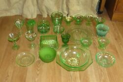 Green Depression Vaseline Uranium Glass Butter Bowl Plate Ice Cream Cup #1152 $12.50