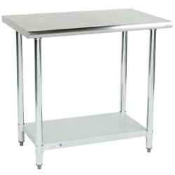Commercial 24quot; x 36quot; 18 Gauge 430 Stainless Steel Work Table with Undershelf