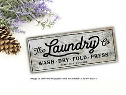 Laundry Room Vintage Sign Shelf Sitter Wood Board Farmhouse Rustic Decor $14.99