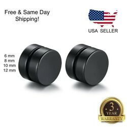 Unisex Black Steel Magnetic Non piercing Clip on Cheater Fake Ear Stud Earrings $3.99