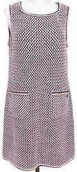 CHANEL Knit Dress Sleeveless Pink White Black Silk Blend Sz 42 Spring 2017