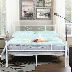 Metal Bed Frame Full Size Mattress Foundation with Headboard and Footboard White $99.98