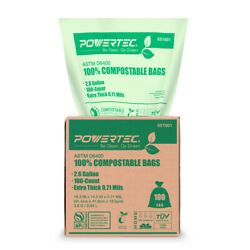 100 Small Garbage Trash Bags 2.6 Gallon 0.71 Thick Bathroom Can Compostable Bags $10.99