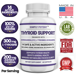 Thyroid Support Supplement with Iodine B12 for Weight Loss Energy Adrenal Health $15.99