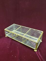 VINTAGE BRASS GLASS DRESSER VANITY BOX FOOTED 3 COMPARTMENT $8.00