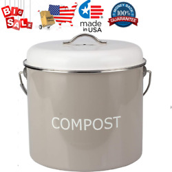 COMPOST BIN COUNTERTOP 0.8 gallon 3 liter Compost Bucket for Kitchen w Lid amp; 4 $34.35