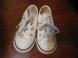 Converse All Star Toddlers Shoes Sz 8 Low Top Lace Up White w Black 750222 $11.99