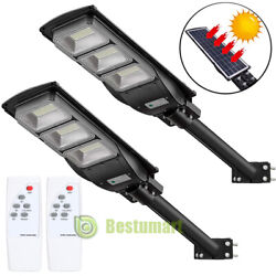 2Packs 90W 90000LM Solar LED Street Light Commercial Outdoor IP67 Area Road Lamp