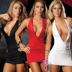 Sexy Women Backless Deep V Dress Bodycon Clubwear Party Cocktail Mini Dress $10.98