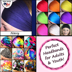 Softball Headband Wide Youth Sports Workouts Gym School Solid Color Navy $5.95