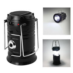 USB Solar 6 LED Portable Light Rechargeable Lantern Outdoor Camping Hiking Lamp $7.66