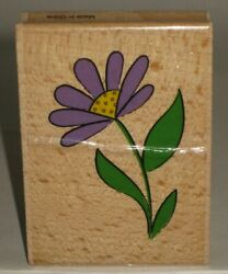 Purple Sky Rubber Stamp Single Stem Daisy Flower Wood Mount 2.25quot; x 3quot; $2.99