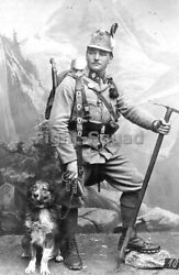 WW1 Picture Photo Austrian Imperial Royal Mountain Troor with his Dog 3934 $4.95