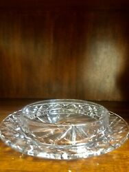 Antique Crystal Round Cut Glass Platter 11 Inches $34.99